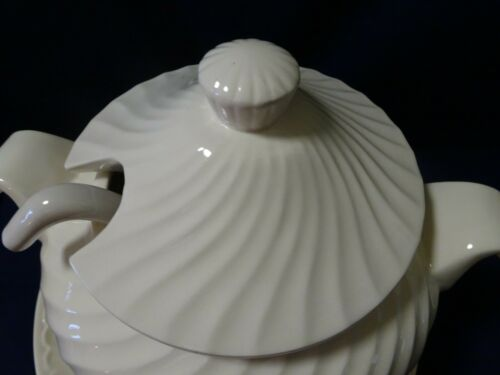 Vintage White Soup Tureen Bowl with Handles & Ladle & Underplate Japan Ceramic