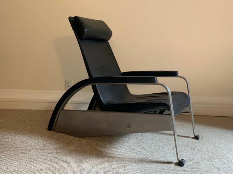 1988 Tecta Reproduction of classic Jean Prouve Reclining Chair 1928-30 w/ book