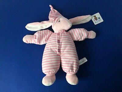 Beverly Hills Teddy Bear Co Plush Pink & White Striped Bunny Rabbit Rattle -