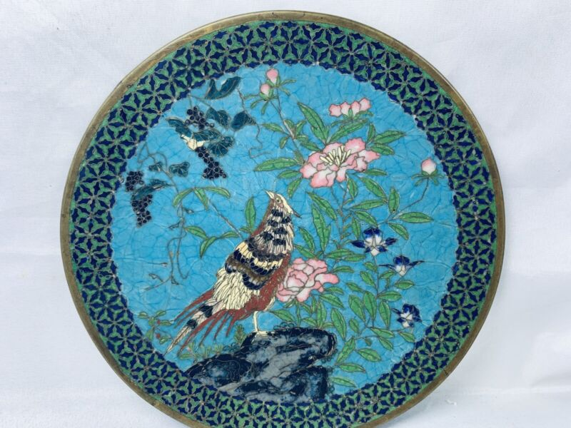 Antique Japanese Meiji Cloisonne Wall Plate Charger Bird & Flowers 7""