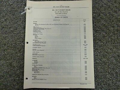 International Harvester Ih No. 50t Pickup Baler Parts Catalog Manual Book