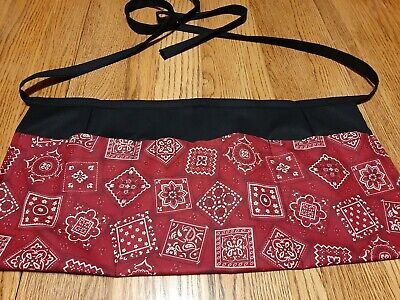 Waitress Apron 3 Pockets Red Paisley Bandana