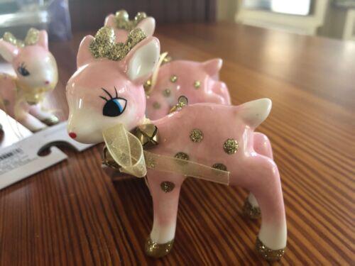Target Wondershop Retro Pink Deer Fawn Christmas Ornaments NEW set 6 lot