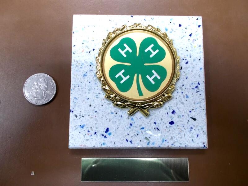 4-H ORGANIZATION - New Plaque Tile AWARD - GIFT w/Gold Wreath + Insert FAST SHIP
