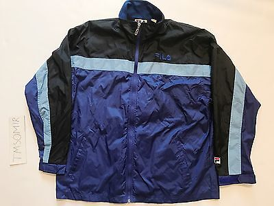 Navy Powder (Vintage Fila Windbreaker Jacket Navy Powder Baby Blue Black Men's Large)