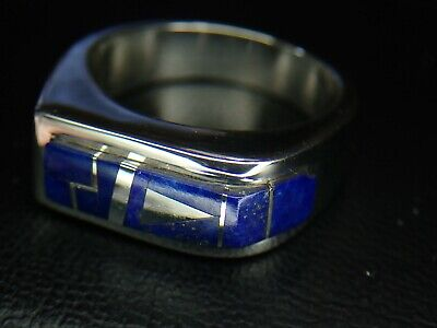 Size 12.5 Sterling Silver 925 Blue Lapis Lazuli Stone Inlay Ring 16.5 Grams Lapis Lazuli Inlay Ring