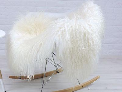 "GENUINE WHITE & CREAM  ""MONGOLIAN"" curly hair ICELANDIC single sheepskin rug, 99"