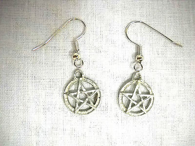 Claw Silver Pewter Ring - WOVEN 5 POINT PENTACLE STAR RING OF LIGHT PEWTER DANGLING CHARM HOOK EARRINGS