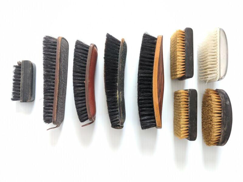 VINTAGE BRUSH LOT Shoe Clothes - Leather and Ebony - Sterilized Horse Hair