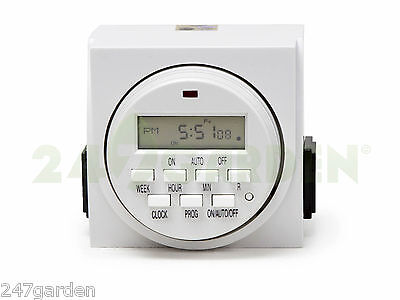 7 Day dual outlet digital timer, hydroponics and indoor gardening, timer control