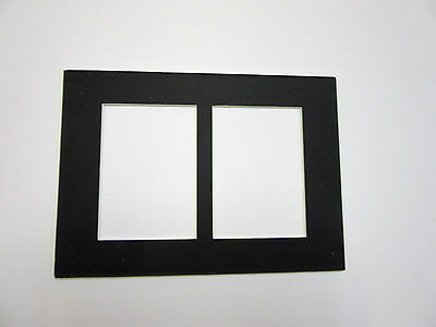 Picture Framing Mats 5x7 for 2 ACEO openings 1 single Black mat