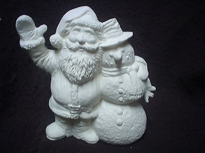 """E041 - Ceramic Bisque 5"""" Santa with Snowman - Ready to Paint"""