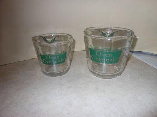 LOT VTG Anchor Hocking Oven Originals 1 & 2 Measuring Cup~Green #496 & #498 L@@K
