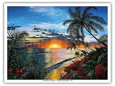 - Sunset Serenade Hawaii Paradise Ocean Vintage Original Painting Art Poster Print