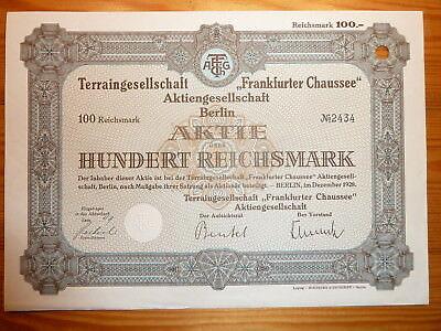 "D: Terrainges. "" Frankfurter Chaussee"", Berlin, 1928, 100 RM*"