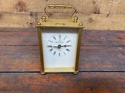 Vintage Montreux Quartz Brass Carriage D Mantle Clock Made In Germany Works