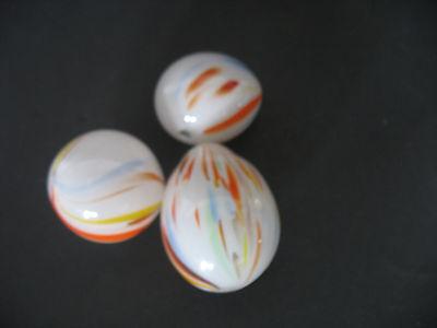 3 Vintage Hand Blown END OF DAY Milk Glass Eggs Stripes Swirls nesting decoy