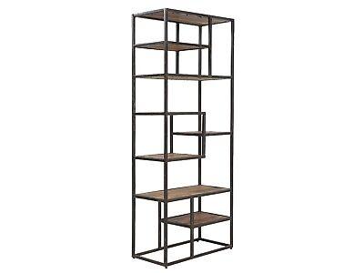 Metall Bücherregal Schrank (Bücherregal Regal Bücherschrank Holz Akazie hell Wohnzimmer Metall Oklahoma)