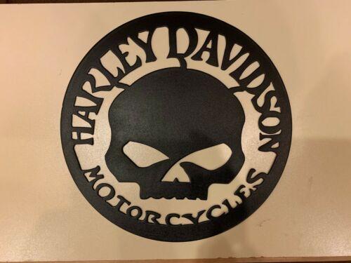 12 inch Harley Davidson Skull Metal Wall Art Textured Black