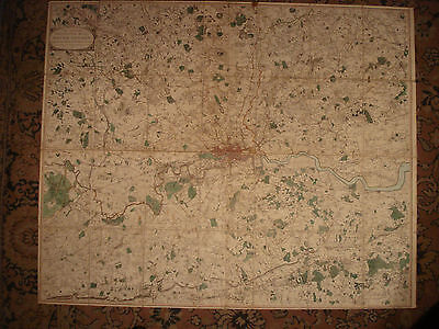 W FADEN VERY LARGE 18TH C MAP OF LONDON THE COUNTRY 25 MILES ROUND LONDON 1796