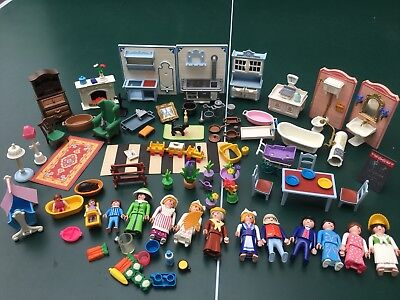 vtg Playmobil lot Victorian mansion accessories Furniture rug doll house kitchen
