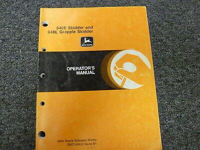 John Deere 640e Skidder 648e Grapple Skidder Owner Operator Manual Omt140623