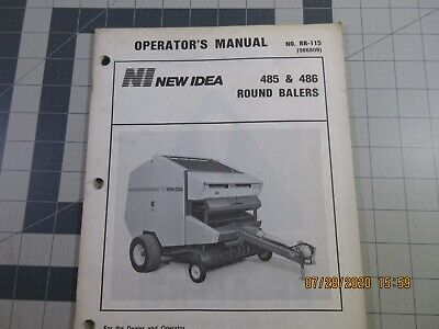 New Idea Owners Manual For 485 486 Round Baler Used In Good Condition