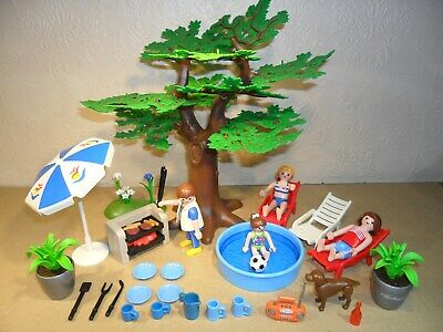 PLAYMOBIL GARDEN SET (Mighty Oak Tree,Furiture for Dolls House.BBQ)