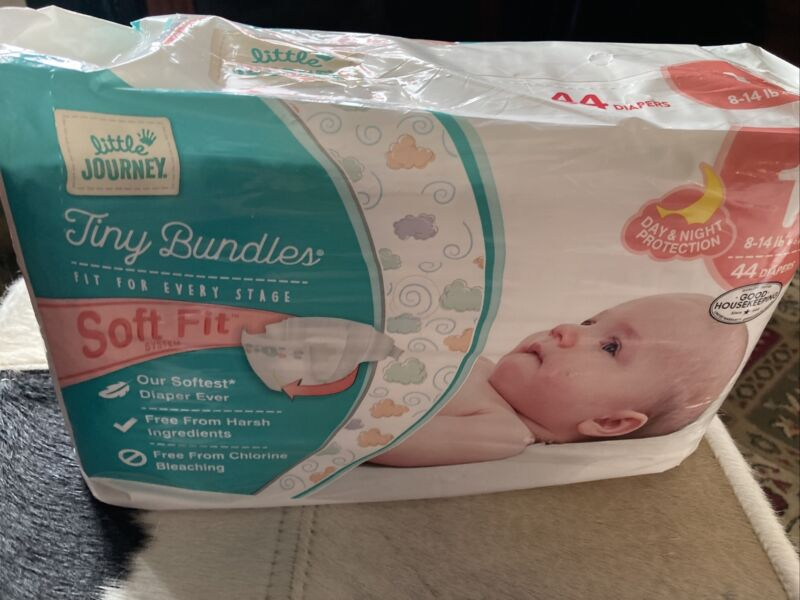 Little Journey Tiny bundles Diapers Size 1. 44 Diapers For 8-14 Pounds. Soft Fit
