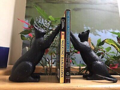 Black Cat Vintage Bookends, Heavy Cast Aluminum