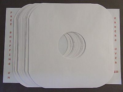 "50 WHITE PAPER  INNER LP RECORD SLEEVES ROUNDED CORNER 12"" #20 PAPER ACID FREE"