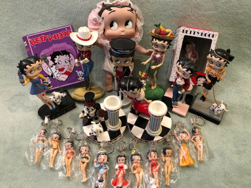 BETTY BOOP Collectibles Lot Danbury Mint Statues Bobblehead Ornament Keychains +