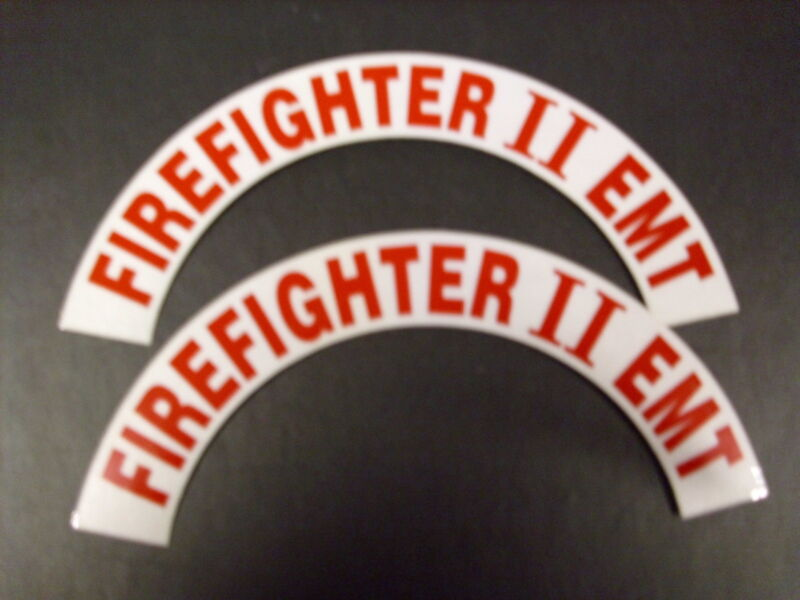 FIREFIGHTER II EMT RED CRESCENTS  PAIR FOR FIRE HELMET OR HARDHATS