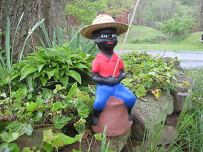 Black Fishing Boy Concrete Pond Statue  (Lawn Jockey) Red