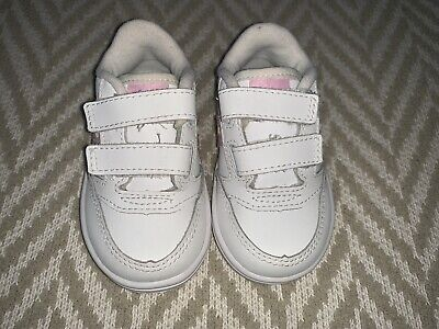 Baby Girl Shoes Sneakers 4.5W Saucony White Pink Stripes Straps FL