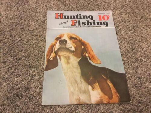 Vintage Jan 1942 HUNTING and FISHING magazine dogs boating guns woodcraft