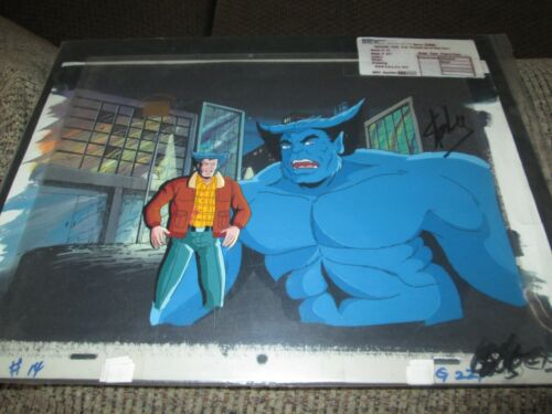 Stan Lee signed cel on background X Men Wolverine and Beast