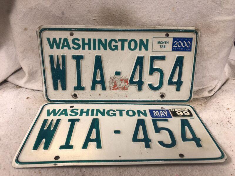 1999 Washington License Plate Pair
