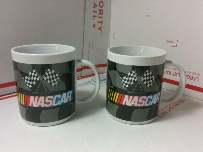 (Lot of 2) Vintage 2004 NASCAR Ceramic BLACK Mug Set CHECKERED FLAG Licensed