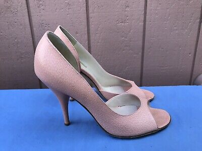 EUC RARE FENDI 37,5 US 7 Salmon Suede Leather Open Toe Platform Pump Shoe A8