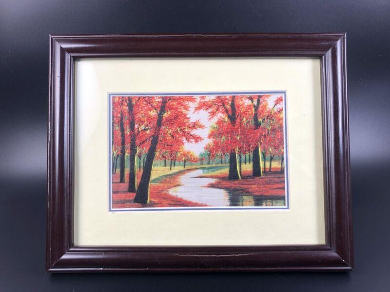 Vintage Chinese String Art Work Framed Landscape Scene Oriental