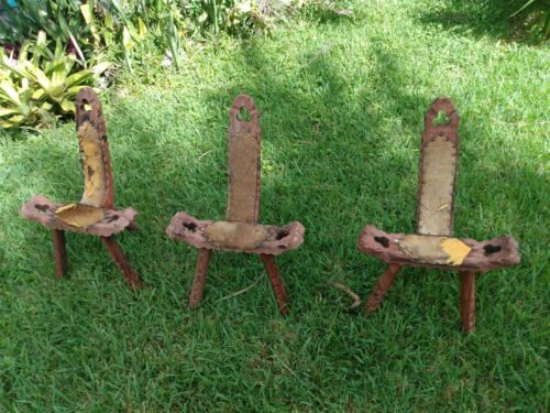Vintage Antique Wood Birthing Chair Primitive Rustic