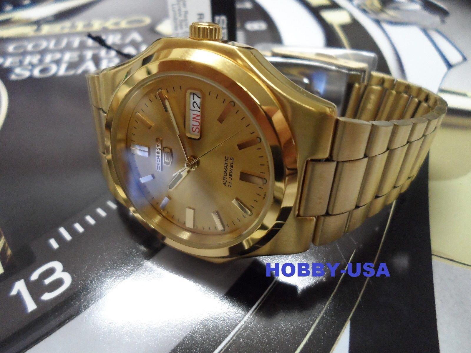 SEIKO Men GOLD Tone Automatic Watch Seiko 5 SNKK52 Gold tone