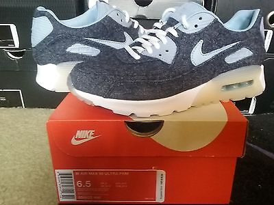 Womens Nike Air Max 90 Ultra Premium Midnight Navy Blue Grey White 95 859522