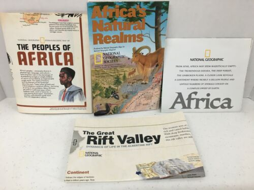 National Geographic Lot of 4 Africa Maps Posters 70s  2000s Ethnolinguistic