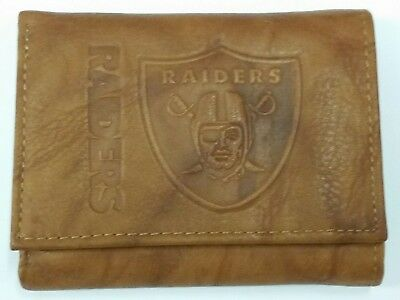 NFL Oakland Raiders Tri-Fold Leather Wallet, - Leather Oakland Raiders Tri Fold Wallet