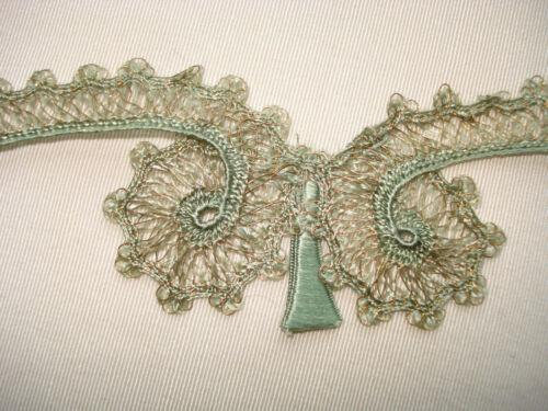 "antique 19th c ""opulent era"" silk + gold passementerie dress lace trim  65""-70"""