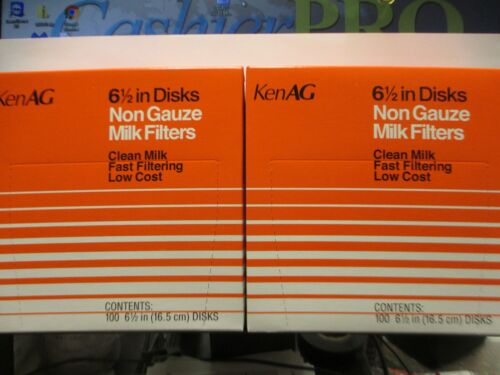 Milk Filter Strainer -  6 1/2  inch Strainer Disc ( 2 ) Boxes of 100 New KenAg