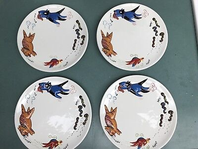 Studio Nova humorous FOOD CHAIN plate  cat- dog- bird-worm chase 4 Plates