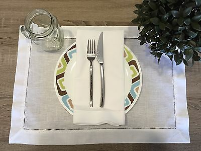 12 White Linen Cloth Hemstitch Table Placemats 14x20 Inch Wedding Party 1 Dozen